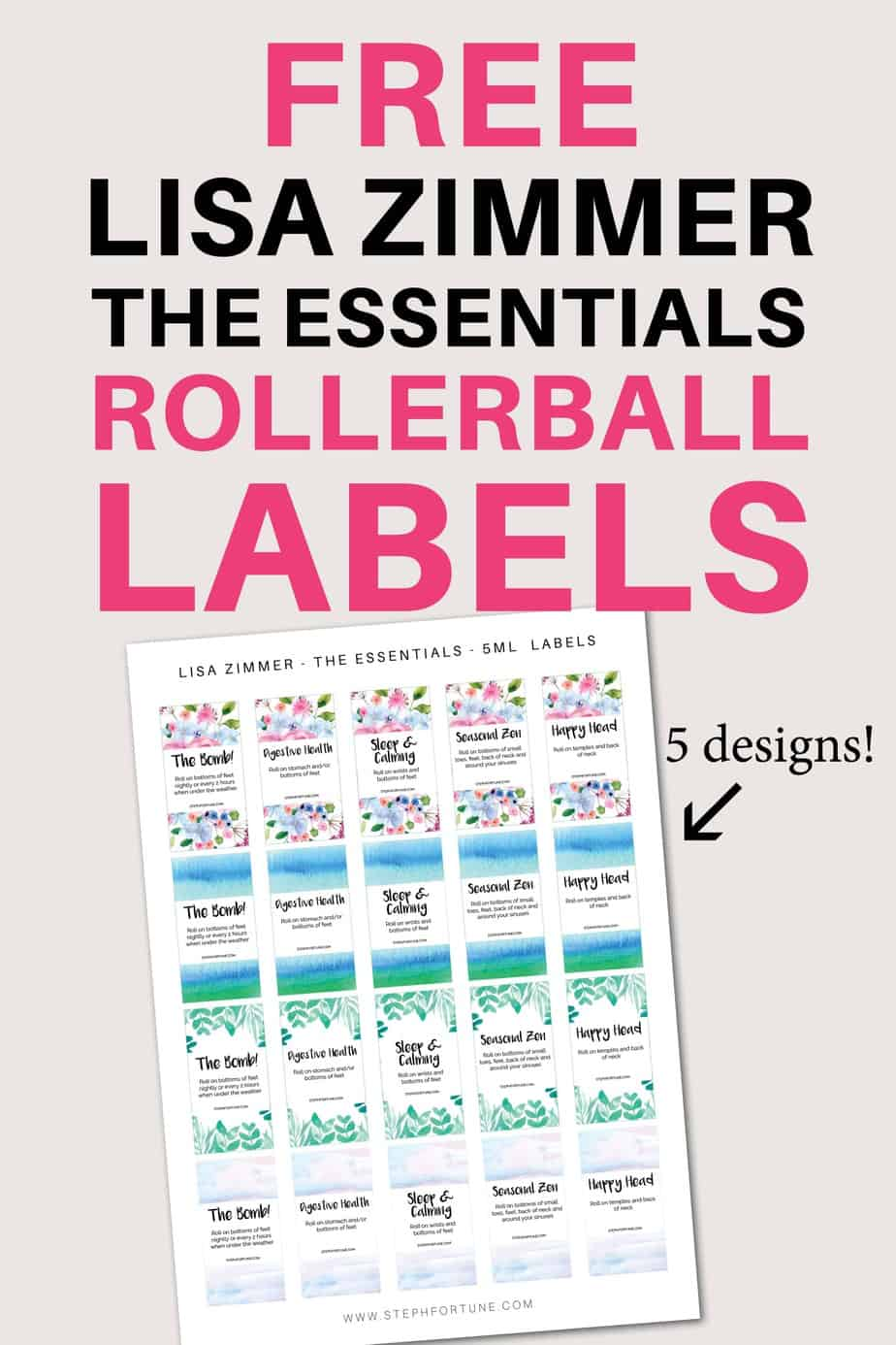 FREE Lisa Zimmer The Essential Roller Ball Printable Labels