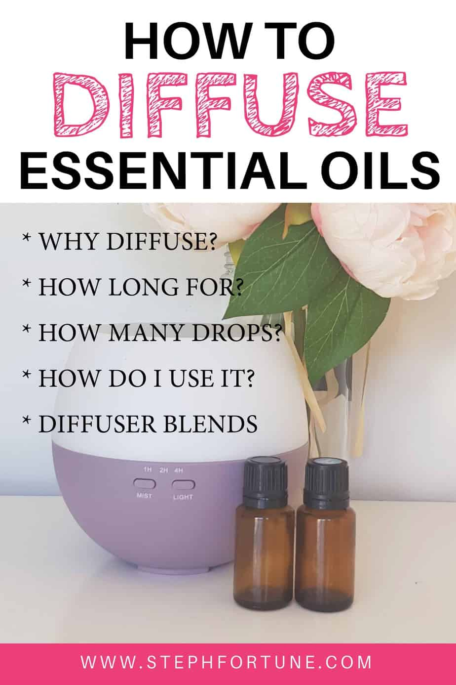 How to Use an Essential Oil Diffuser * Why diffuse? * How long for? * How many drops? * How do i use it? * Diffuser blends