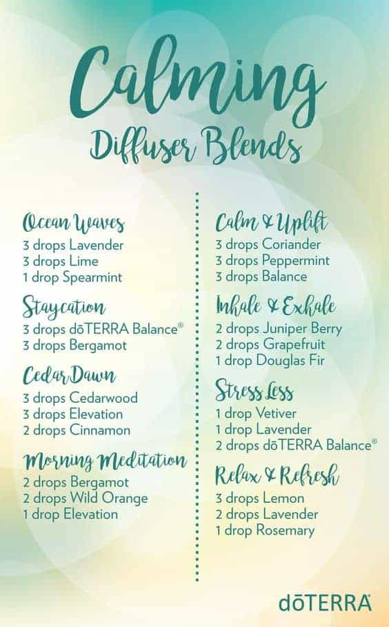 Essential oil calming diffuser blends